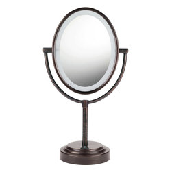 Conair - Conair Double-Sided Lighted Oval Mirror, Oiled Bronze - See yourself in a whole new light. Whether you peek into the regular or magnified side, this classic oval mirror's gentle lighting is sure to flatter. Sitting pretty on your vanity table or adding flair to your bathroom count