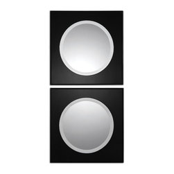 Uttermost - Uttermost Girard Black Square Mirrors Set of 2 08118 - Frame is made of beveled black glass with painted black edges. Center mirror is beveled.