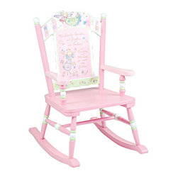 "Levels of Discovery - Fairy Wishes Rocker - Pretty in pink with pale green and white accents Whimsical, wish-granting fairies adorn the scalloped seat back Special message on seat back: Wishes for Sparkles and Giggles and Smilies�and Swirlies and Whirlies for sweet little Girlies Special understamp beneath the seat that the customer can personalize with the child's name, the name of the gift-giver and the special occasion when the chair was received A photo greeting card is included so the child can say THANK YOU in a memorable wayScalloped seat back. Special message. Understamp beneath the seat for personalization. Photo greeting card included. All chairs have a ""personalizable"" understamp"
