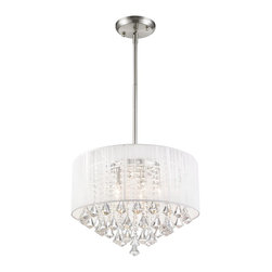 Z-Lite - Z-Lite Aura Semi Flush Mount Pendant Light X-C-W02-198 - The Aura family of linear shaded fixtures feature a stunning double line of multi faceted pyramid crystal. The string shades come in black, silver, and white, while the organza shades come in black and white. In all cases the fixtures are finished with brushed nickel hardware.