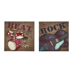 Benzara - Musical Rock And Roll Instrument Wall Decor - For the young musician or the future rock star, these is the perfect choices of wall decor that keeps the beat going on. Either a thrashing drum kit and cymbals, or a beautiful vintage six string guitar. Hang them in the kid's bedroom or the unofficial band room: the garage. The greatest gift to show support for their great musical talents.