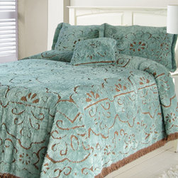 LaMont Limited - Jessica Slate and Chocolate Full Bedspread - All over scrolls, loops and flowers provokes a classic yet modern panache to this chenille bedding. Unique tufted design with undeniable softness. 100% cotton, machine washable. Imported from India. LaMont Limited - 2936040