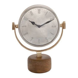 Benzara - Double Sided Metal Table Clock with Wooden Stand - Double Sided Metal Table Clock with Wooden Stand. If you are looking for a unique timepiece with unconventional good looks and design, this is the perfect table clock for you. The dimensions of the metal wall table clock are 11 x 5 x 14. Some assembly may be required.