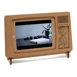 Contemporary Recycled Carboard Ipad Tv Stand - Don't touch that dial—this recycled cardboard stand gives your iPad the look of a retro TV, recreating the golden days of tuning in with family. Designed by Luis Rodrigalvarez.
