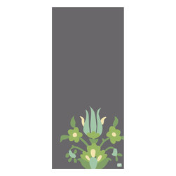 "Emma at Home - Lycia Print, Carbon, 20"" x 30"" - Break up a plain-Jane wall with this vertical print on archival quality paper. It offers a dramatic column of color, and the sweet flower design at the bottom invokes a sense of whimsy."
