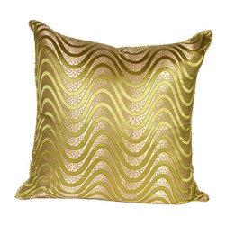 Used Green Wave Silk Brocade 20x20 Pillow - Do THE WAVE...the crowd goes wild for this wavy pillow! Layering on the perfect throw pillow is the cherry on top for achieving an effortlessly styled effect in your room. This groovy 20x20 green silk pillow features a wave design, piping, a down/feather insert, and a hidden zipper on the back.