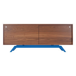 Eastvold Furniture - Elko Credenza, Walnut, Blue Base - Midcentury meets modern in one sleek, versatile package. Stash everything from keys, files and homework to dishes, video equipment and books behind the sliding doors. Add a laser cut, powder-coated base in one of six colors to the adjustable shelves and wire passages, and you get myriad ways to fall in love.