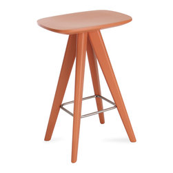 Bryght - Petite White Counter Stool, Orange - Form and function unite in the Petite collection to offer you wonderfully vibrant pops of color. Add these Scandi style counter stools to create a youthful ambiance.