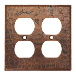 Premier Copper Products - Switchplate Double Duplex,4 Hole Outlet Cover - Copper Switchplate Double Duplex, 4 Hole outlet Cover