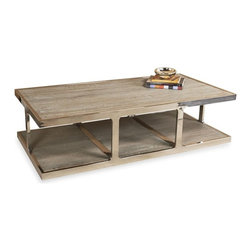 Interlude - Interlude Soto Cocktail Table - Recycled elm and stainless steel makes brings elegance to this industrial design.