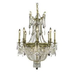 "PWG Lighting - Telfour 12-Light 26""D Crystal Chandelier 7916D26AB-RC - Cast brass arms and finely detailed rings and center columns accented by glamorous crystal beading evoke royalty in this Telfour Collection. Coordinating crystal baskets complement these stately designs."