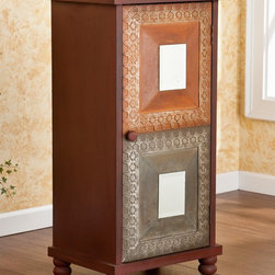 Upton Home - Upton Home Corbyn Storage Cabinet - This Upton Home Corbyn storage cabinet features a distressed red rustic finish,earthy accent panels,and decorative mirrors for a bright accent and Asian style influence. Two shelves inside the cabinet allow for plenty of storage.
