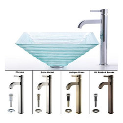"Kraus - Kraus C-GVS-910-15mm-1007SN Satin Nickel Clear 18"" Alexandrite Glass - Combo Includes:Tempered glass vessel sinkSolid brass vessel faucetPop-up drain (matches faucet finish)Sink Features:Fully covered under Kraus  limited lifetime warrantyConstructed of solid tempered (toughened) glass - virtually unbreakableShould glass somehow break, tempering also means it crumbles rather than creating shardsHandmade by skilled artisansA fashionable bathroom sink is the perfect harmony of elegance and styleThis eye catching glass vessel sink will turn an ordinary bathroom into a lavish spaceDesigned for above-the-counter installationStandard 1-3/4"" drain opening - designed to easily connect to waste lines, including P-trapsExtra secure mounting assemblyAll necessary mounting hardware includedCertifications and Listings Include: UPC, cUPC, CSA, IAPMO, ANSI and SCCFaucet Features:Fully covered under Kraus  limited lifetime warrantyAll-brass faucet constructionHigh-quality, corrosion and rust resistant triple-plated finish - finish covered under lifetime warrantySingle handle operationTall design for use with vessel (above-the-counter) sinksADA compliantLow lead compliant - complies with federal and state regulations for lead contentDesigned to easily connect to standard U.S. plumbing supply bibsExtra secure mounting assemblyAll necessary mounting hardware includedCertifications and listings include: UPC, cUPC, CSA, IAPMO, ANSI and SCCSink Technologies and Benefits:The Vessel Advantage: Beyond uniqueness and their distinctive modern design, vessel sinks also present a couple of functional advantages. Because the sink is raised off the countertop, overall bathroom clutter presents l"