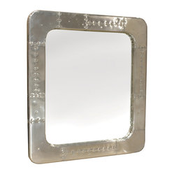 Kathy Kuo Home - Modern Industrial Spitfire Aluminum Rivet Square Mirror - Gleaming in aluminum and accented with rivets, this handsome mirror marries soft curves and industrial edge to gorgeous effect. Hang this fighter jet-inspired piece in your space for style that simply soars.