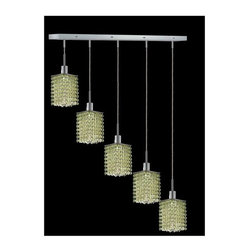 Elegant Lighting - Mini Peridot Crystal Pendant w 5 Lights in Chrome (Strass Swarovski) - Choose Crystal: Strass Swarovski. 3 ft. Chain/Wire Included. Bulbs not included. Crystal Color: Lt. Peridot (Light Green). Chrome finish. Number of Bulbs: 5. Bulb Type: GU10. Bulb Wattage: 55. Max Wattage: 275. Voltage: 110V-125V. Assembly required. Meets UL & ULC Standards: Yes. 34 in. D x 8 to 48 in. H (15lbs.)Description of Crystal trim:Royal Cut, a combination of high quality lead free machine cut and machine polished crystals & full-lead machined-cut crystals..SPECTRA Swarovski, this breed of crystal offers maximum optical quality and radiance. Machined cut and polished, a Swarovski technician¢s strict production demands are applied to this lead free, high quality crystal.Strass Swarovski is an exercise in technical perfection, Swarovski ELEMENTS crystal meets all standards of perfection. It is original, flawless and brilliant, possessing lead oxide in excess of 39%. Made in Austria, each facet is perfectly cut and polished by machine to maintain optical purity and consistency. An invisible coating is applied at the end of the process to make the crystal easier to clean. While available in clear it can be specially ordered in a variety of colors.Not all trims are available on all models.