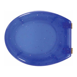 The Renovators Supply - Toilet Seats Brass PVD Hinge Polymer Blue Toilet Seat Gold Star | 17446 - Gold Star Toilet Seats: Made of High Grade Polymer this seat is designed for maximum strength and durability and does NOT yellow over time like most polymers. Cast within the seat the stabilizing bumpers prevent rocking and keep the seat safely in place. Oval, brass PVD hinges are tarnish resistant and fit standard hole spacing 5 1/2 inch on center and are adjustable but not recommended for adjusting on standard US toilets. May not be compatible with other brand name toilets. Seat measures: 16 7/8 inch x 14 1/2 inch Lid measures: 16 1/8 inch x 13 3/8 inch