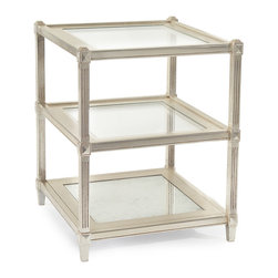 Kathy Kuo Home - Mae Hollywood Regency Antique Silver Leaf Mirror Glass 3 Tier End Table - Truly a breath of fresh air, this three tiered silver leaf Eglomise mirrored side table builds light upon light with mirrored shelves supported by fluted legs and detailed, traditional carpentry.