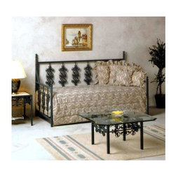 Grace Collection - Wrought Iron Rose Daybed (Aged Iron) - Finish: Aged IronThis beautiful wrought iron daybed is the perfect compliment to any bedroom, whether it is a guest bedroom, or the bedroom for a very feminine older child.  With several different finishes this beautiful bed will fit in well in any room and can be even more beautifully adorned with great blankets and pillows that share the rose theme. * Finely crafted wrought iron frame. Mattress and linens not included. 41 W x 80 L x 53 H in.