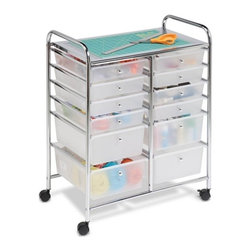"12 Drawer Rolling Cart - Honey-Can-Do CRT-01683 12-Drawer Studio Organizer Cart, Chrome. Perfect for the home, classroom, or art studio, this double wide organizer features 12 easy-access drawers. Great for paper, tools, accessories, crafting, scrap booking, or your home office. The semitransparent plastic drawers allow you to quickly identify contents. For both small and large items, this cart features drawer sizes of 9.5"" x 13.5"" in depths of 2.6"" and 5.1"" deep. Smooth glide casters make this cart easy to maneuver and lock in place for a sturdy work surface anywhere. The chrome work surface measures 23.25"" W x 15.25"" D and is a comfortable 29"" off of the ground. The sturdy chrome frame is both attractive and functional. Assembly tools and instructions are included."