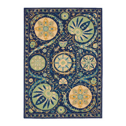 Nourison - Nourison Suzani Suz04 Blue Area Rug - Give any room a touch of nature with a Nourison Suzani rug. This rug is a contemporary take on the traditional floral patterns. The patterns range from whimsical to distinctive plants and flowers. For example, you can pair this rug with a large planter to create an intriguing wilderness. You can even add the rug to a room with a Queen Anne chair to add a visual appeal into a space. Each of the Suzani area rugs are made with 100 percent hand tufted wool.