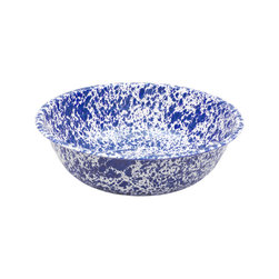 Crow Canyon Home - Wide Bowl/Basin, 6-Quart, White and Blue Splatter - This wide enamel bowl is the ultimate in utility. Harvesting your garden, big mixing projects, and handwashing delicates are a breeze with this time-tested shape.