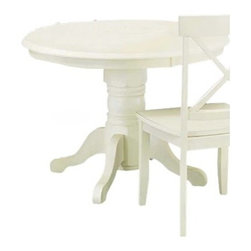 """Home Styles - Home Styles Furniture 42"""" Round Pedestal Casual Dining Table in Antique White - Home Styles - Dining Tables - 517730 - Reflecting a solid contemporary style and sensibility the Home Styles Pedestal Dining Table is perfectly suited for any daintily-themed dining area. Distinguished by a beveled-edge table top and carved column and pad-foot base this table offers all you need for a maximum of four individuals. A lovely antique white finish completes the look and appeal of the Home Styles Pedestal Dining Table."""