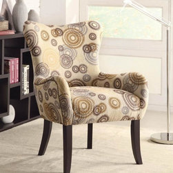 Coaster - Circle Design Accent Chair - Contemporary style. Rolled arm. Padded seat. Stencil-like circles on tan fabric upholstery. Tapered wood legs in cappuccino finish. Seat depth: 19 in.. Overall: 28 in. W x 27 in. D x 38.5 in. H. WarrantyYou'll have a nice accent for your home decor with this plush chair. There will be a lot to like with this accent chair in your home.