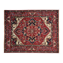 """Oriental Rug Galaxy - 8'0"""" x 10'0"""" Rust Red Serapi Heriz Hand Knotted Oriental Rug 100 Percent Wool - Our Tribal & Geometric hand knotted rug collection, consists of classic rugs woven with geometric patterns based on traditional tribal motifs. You will find Kazak rugs and flat-woven Kilims with centuries-old classic Turkish, Persian, Caucasian and Armenian patterns. The collection also includes the antique, finely-woven Serapi Heriz, the Mamluk, Afghan, and the traditional handmade village Persian rugs."""