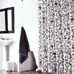 Tahari Scroll Print Fabric Shower Curtains -