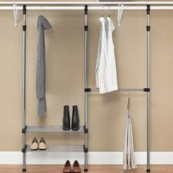 Whitmor - Modular Custom Closet Kit - If you are in need of maximum storage space  then the Closet Rod System is the perfect closet organizing tool for your home. This easy  no assembly Closet Rod System features coated  silver metal frame with durable resin end connectors. With an extra hanging bar and two adjustable tubular shelves  you will never understand how you ever lived without the added space and organization the Closet Rod System Provides.  This item cannot be shipped to APO/FPO addresses. Please accept our apologies.