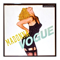 "mmm designs - Glittered Vintage Madonna Vogue EP Cover - Glittered record album. Album is framed in a black 12x12"" square frame with front and back cover and clips holding the record in place on the back. Album covers are original vintage covers."