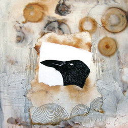"""Raven Dreams"" (Original) by Annie Coe - Living in Taos New Mexico we are surrounded by giant Ravens and I love them, this is one in a series of raven collages. I also love rust and tea and used that in this piece to make many of the shapes and colors."
