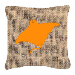 Caroline's Treasures - Manta Ray Burlap and Orange Fabric Decorative Pillow BB1014 - Indoor or Outdoor Pillow made of a heavy weight canvas. Has the feel of Sunbrella fabric. 14 inch x 14 inch 100% Polyester Fabric Pillow Sham with Pillow form. This Pillow is made from our new canvas type fabric can be used Indoor or outdoor. Fade resistant, stain resistant and Machine washable.