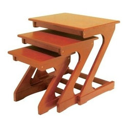 """Acme - Barney Z Shaped Legs 3-Piece Oak Finish Wood Nesting Side Accent Table Set - Barney Z shaped legs 3-Piece oak finish wood nesting side accent table set . Large measures 21"""" x 16"""" x 21"""" H. Medium measures 17"""" x 14"""" x 18""""H. Small measures 13"""" x 13"""" x 14"""" H. Some assembly required."""