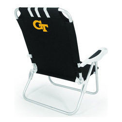 "Picnic Time - Georgia Tech Monaco Beach Chair Black - The Monaco Beach Chair is the lightweight, portable chair that provides comfortable seating on the go. It features a 34"" reclining seat back with a 19.5"" seat, and sits 11"" off the ground. Made of durable polyester on an aluminum frame, the Monaco Beach Chair features six chair back positions and an integrated cup holder in the armrest. Convenient backpack straps free your hands so you can carry other items to your destination. Rest and relaxation come easy in the Monaco Beach Chair!; College Name: Georgia Tech; Mascot: Yellow Jackets; Decoration: Digital Print"