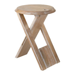 Folding Wood Accent Table - The weather's warm and the drinks are cool—what better time to prop your feet up and relax? This natural-finished wood stool makes a delightful footrest or place to rest your book or drink. And moving it is a breeze: just fold it up and go.