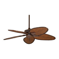 "Fanimation - Asian 52"" Fanimation Windpointe Rust Outdoor Ceiling Fan - This Windpointe fan is one of the best outdoor ceiling fans and features a relaxed tropical feel that looks great in any room. A rust finish motor is paired with five narrow oval-shaped woven bamboo blades. A 52 inch blade span and 18 degree blade pitch creates a cooling breeze. From  Fanimation fans. (ON UM)  Rust motor finish.  Woven bamboo fan blades.  52 inch blade span.  18 degree blade pitch.   188 x 25mm motor size.  Lifetime motor warranty.  UL listed for damp location.   Pull chain operation.   Includes 6"" downrod.   Fan height from ceiling to blade 14"" (with 6"" dowrod).  Requires 9 foot ceiling for installation.   Canopy 5 3/4"" wide."