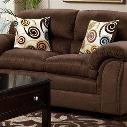 Chelsea Home - 66 in. Joyce Upholstered Loveseat - Includes toss pillows. Transitional style. Medium seating comfort. Zippered cushions. Reinforced 16-gauge border wire sinuous springing system to maintain uniform seating. Double springs on the ends nearest the arms to give balance in the seating. Hi-density foam cores cushion with Dacron polyester wrap to provide longer life. Stress points are reinforced with blocks to secure a long lasting frame. Flatsuede chocolate cover. 100% poly fabric. Solid kiln dried hardwoods and engineered wood frame. Made in USA. No assembly required. 66 in. L x 38 in. W x 39 in. H (100 lbs.)