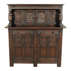 Antique Oak Georgian Court Cupboard Buffet Server - Oak finish