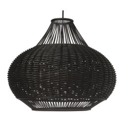 Kouboo - Wicker Pear-Shaped Pendant Lamp, Espresso - Total height with power cord 53 inches. Height can be reduced by shortening cord