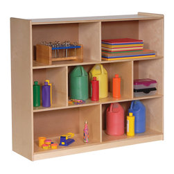 Steffywood - Steffywood Kids Play Toys Deep Single Mobile Storage Display Rack Shelves Stand - Mobile storage cabinet has 8 storage sections. Sturdy dowel construction with recessed wood grained back panel.