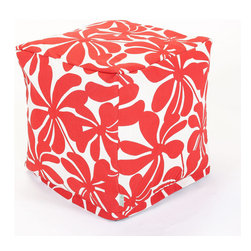 Majestic Home - Outdoor Red Plantation Small Cube - These blossoms don't just look bold — with UV protection built into the fabric, you've got a versatile indoor/outdoor piece that can stand up to any weather. Plus, the slipcover zips off so you can throw it in the wash.