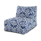 Majestic Home - Outdoor Navy Blue French Quarter Bean Bag Chair Lounger - The progeny of a beanbag chair and a patio lounger, this casual kickback chair takes loafing to a new level, with a long seat for putting your feet up, an angled back for support and all that cushy beanbag filling to mold around your form. It comes with a stylish French-inspired print cover that's treated for outdoor use and easy to remove and clean. Perfect for the family room, media room, den or deck.