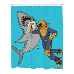 Sharp Shirter - Sharp Shirter Shark Punch Shower Curtain - This curtain is printed in USA!. Hooks sold separately. Disclaimer: If you order multiple items, they may ship from separate locations.