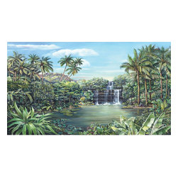 York Wallcoverings - Tropical Lagoon Waterfall Giant Wallpaper Accent Mural - Features: