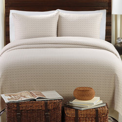 None - Lanai 3-piece Coverlet Set - This three-piece coverlet set can transform your bed's look in minutes. Made of 100 percent cotton, this set is durable and easy to wash, and its taupe coloring is comforting and neutral. This set is available for twin, queen, and king beds.