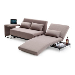 J&M Furniture - JH033 Sofa Bed - This wonderful JH033 Sofa Bed features a stationary double seat that opens to spacious bed and single chair that can slide left or right. Great for home use or office settings. This piece also features a optional end table that not only compliments the design, but also is great for laptops, refreshments, and food.
