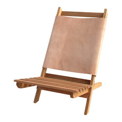POST - Camp Chair - This camp chair is made of solid oak and is finished with danish oil and sealed with poly, allowing it to last through any weather condition. The chair is made up of 2 parts which can collapse and is easily transportable. Each back option is extremely durable and can withstand 300 lbs, and is great for camping, going to the beach, or taking to a concert.