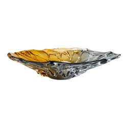 Cyan Design - Duo Art Glass Plate - Duo art glass plate - amber and smoked