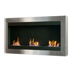 Wall Mount Ethanol Fireplace - Magnum - The Magnum fireplace is a real showstopper. Make this fireplace the center of attention with a one piece stainless steel frame all around and three 1.5 liter burners set in a black powder coated setting. This piece will really spruce up any room and works perfectly for both options - mount it on the wall or recess it, it is totally up to you!